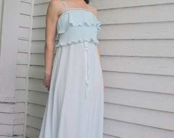 Hippie Maxi Dress Blue Vicky Vaughn Pleated Tiered Vintage 70s Casual 1970s XS