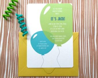 Boys birthday party invitation, first birthday, balloon invitation, kids birthday party invitation, toddler birthday party, balloon party
