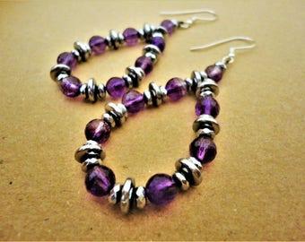 Amethyst Earrings with Hematite. Amethyst Earrings. Hematite Earrings. Purple Earrings. Silver Earrings. Handcrafted Greek Earrings. Summer