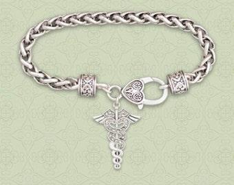 CADUCEUS MEDICAL SYMBOL Toggle Bracelet, Medical Sign Bracelet, Medical Symbol Clasp Bracelet.
