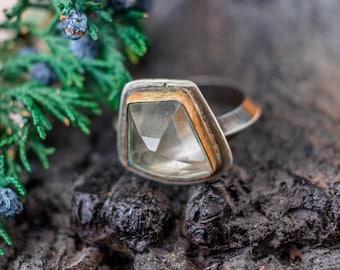 Rings, Boho Jewelry, Boho Ring, Silver Boho Ring,  Quartz Crystal Ring, , Sterling Ring, Bohemian Ring, Silversmith Ring, Raw Stone Ring