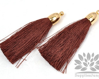 T007-G-BR// Gold Plated Round Cone Brown Tassel Pendant, 2pcs