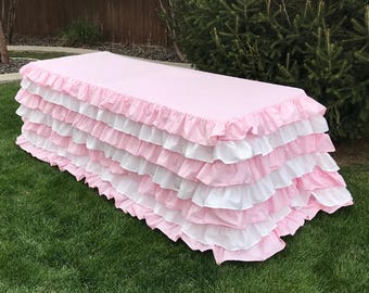 Striped Ruffled Tablecloth 6 Foot Table Baby Shower Kids Birthday Party  Decor Pink And White Stripe