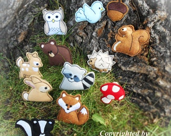Woodland Creatures Machine Embroidery Designs for Felties and Appliques