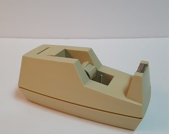 Vintage Scotch C-40 Deluxe Desk Tape Dispenser Cream Heavy Duty 3M