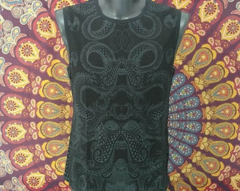 Psychedelic All Over Black Print Sleeveless Shirt - subliminal print - gift for him