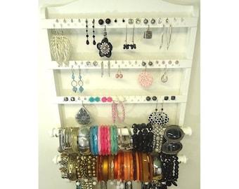 ON SALE Jewelry Organizer, Bracelet Holders, Elegant Double Bangle Bracelet Display, White Stain, Earring Holder, Necklace Rack, Oak Hardwoo
