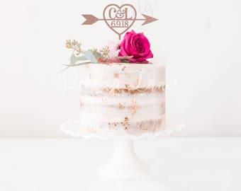 Wedding Cake Topper | Initials & Date | Heart Arrow | Metallic | Glitter | Gold | Wood | Rose Gold | Custom
