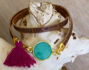 Boho chic bracelet, bohemian bracelet, tassel bracelet, wrap bracelet, gemstone bracelet, ibiza bracelet, gypsy bracelet, boho chic jewelry
