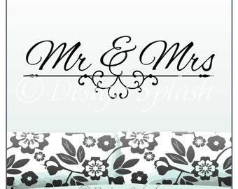 MR & MRS Typographic Husband and Wife Love Marriage Wall Decal Q-109
