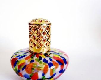"Vintage Murano Glass Oil Lamp ~ Art Glass Diffuser ~ Orange, Cobalt, Green, Yellow & White 5""T x 4""W x 2""D"