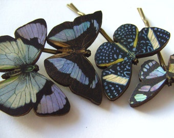 Blue purple and black, wooden butterflies, hair slides, set of four, by Newellsjewels on etsy