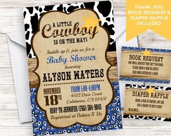 Cowboy baby shower invitation etsy cowboy baby shower invitation invite boy bandana country western 5x7 sprinkle digital 5x7 filmwisefo Images