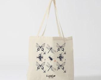 X106Y Tote bag insect, canvas bag, handbag, tote bag, diaper bag, computer bag, bread bag, graphic bag, shopping bag