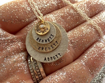 As Seen At THE DENVER POST and Channel 9 News - Personalized Your Name Tag Charm - Two Tone Necklace -   - 4 discs -Simag- mothers day gift