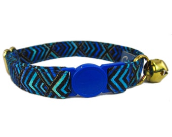 Breakaway Cat Collar -  Fancy Cat Collar - Blue Cat Collar - Art Deco Cat Collar - Cat Collar Breakaway - Custom Cat Collar - Cat Collar