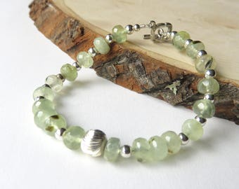 Green Prehnite Bracelet, Silver Gemstone Bracelet, Sterling Silver Toggle Clasp, Special Occasion Gift for Woman, Dainty Stone Jewelry