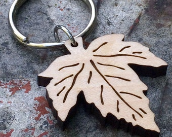 Maple Leaf Wooden Keychain Autumn Accessory Gifts under 25 Fall Fashion Canadian Maple