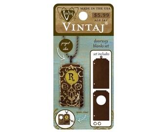 Vintaj natural brass stepped doorway blanks set jewelry findings