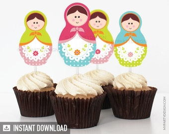 Matryoshka Party - Cupcake toppers - Babushka Party - Russian Doll - INSTANT DOWNLOAD - Printable PDF