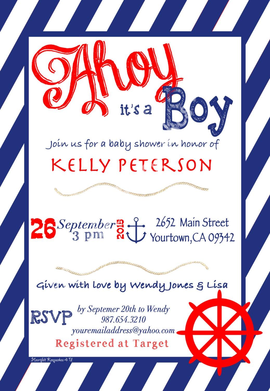 Nautical Boy Baby Shower Invitation English or Spanish