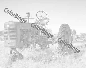 Tractor from Color the Rural West, Clunkers, Junkers & Jalopies - greyscale coloring book for adults