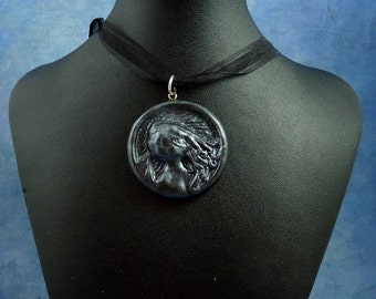 Antique Silver Cthulhu Cameo Necklace, Polymer Clay Jewelry