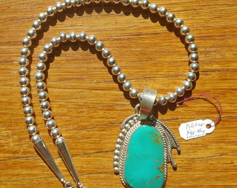 Navajo Fox Mine (Pilot) turquoise necklace sterling silver, Native American necklace, Native American jewelry, silver jewelry