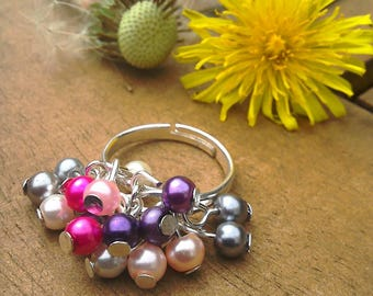 Pearl cluster ring in adjustable silver plated chacha style