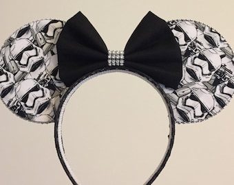 Stormtrooper Minnie Ears- Mickey ears headband, Star Wars ears