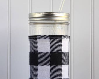 Black & White Buffalo Check Flannel Mason Jar Sleeve - for PINT AND A HALF Mason Jar (24 oz)