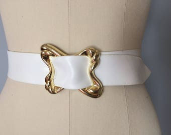 white leather belt | 1980s soft leather cinch belt | golden assimetrical buckle belt