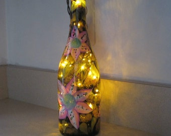 On Sale Wine bottle brown with magenta and white Lilies green leaves hand painted lights inside the bottle