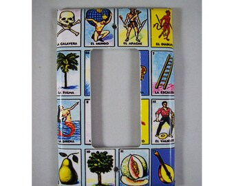Loteria rocker switch plate retro Mexicana pop culture vintage dimmer switch kitsch