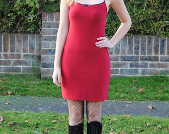 90s Vintage Red Mini Slip/Bodycon Dress