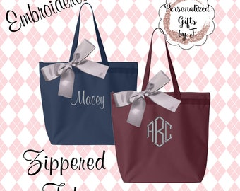 Bridesmaid Gift, 7 Personalized Zippered Tote, Bridesmaid Gift Set, Bridesmaid Gifts- Personalized Tote Bag, Wedding Party Gift