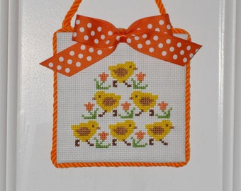 "Finished Cross Stitch ""Chicks"""