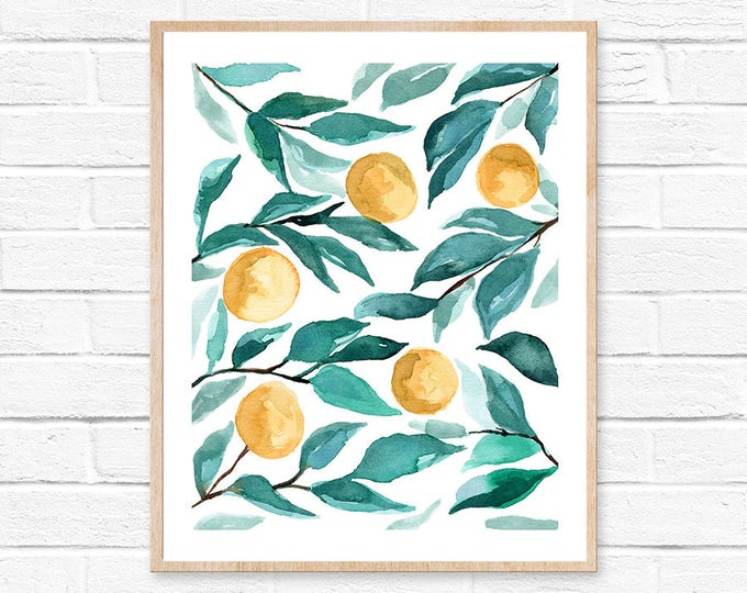oranges watercolor art print modern farmhouse nature lover gift art prints bohemian florals shabby chic watercolor boho farmhouse decor art