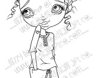 Digi Stamp Digital Instant Download Big Eye Girl ~ Cassidey Image No. 19 & 19B by Lizzy Love