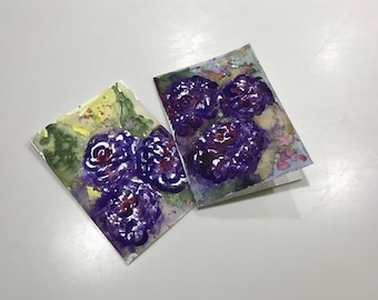 Original Watercolor Greeting Cards - Hand Painted Cards - Handmade Cards - Blank Cards - Purple Roses Watercolor Note Cards - Set of 2