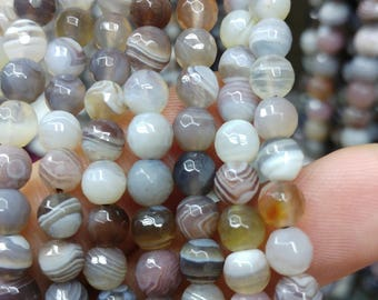 Faceted botswana agate beads, 4 mm dyed agate beads, semiprecious stones, jewelry design, wholesale beads B40