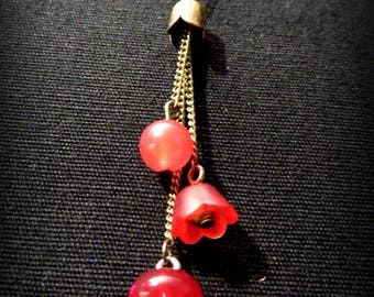 Flower, button boots and Red Bead Necklace