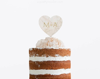 Wedding Cake Topper, Wedding Personalized Cake Topper, Wedding Initials Cake Topper, Wedding Marble Cake Topper