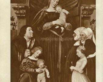 Antique Print, Photogravure Madonna of the Burgomaster Meyer, 1936, beautiful wall art vintage sepia illustration