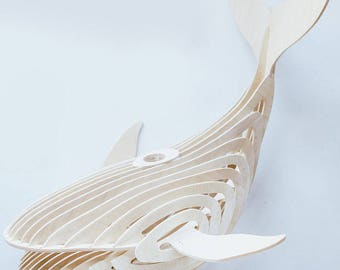 Whale lamp 3d puzzle.Vector plan of the CNC.