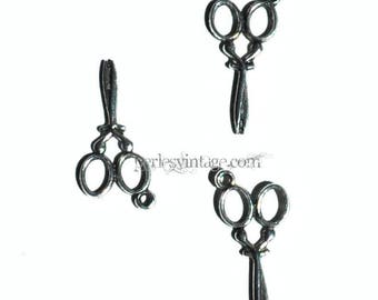 2 silver scissors charms