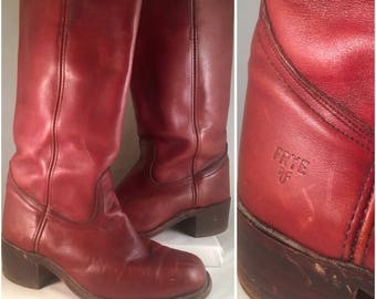 FRYE Men's 8 Leather Campus Heel Riding Boots Brown