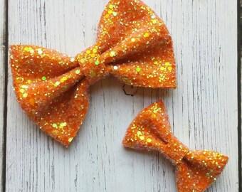 Tangerine · Mini OR Classic Glitter Hair Bow / Baby Girl Headband / Baby Headband / Orange Baby Girl Bow / Orange Headbands / Hair Clip