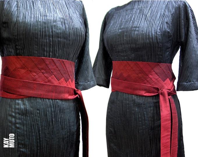 Obi belt sash INTARSIA RED- RED silk dupioni