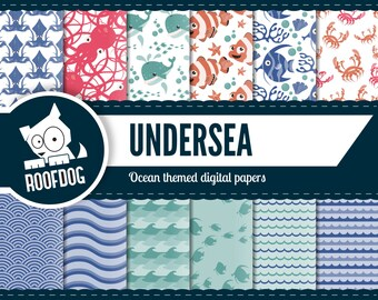 Ocean digital paper | sea creature digital paper | squid digital paper pack instant download | ocean squid octopus shark whale background
